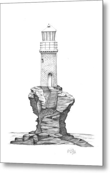 Tourlitis Lighthouse-greece Metal Print