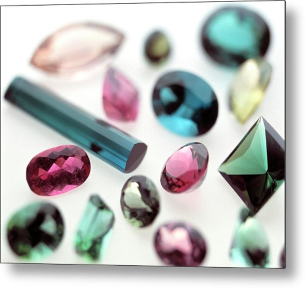 Tourmaline Gemstones Metal Print by Lawrence Lawry/science Photo Library