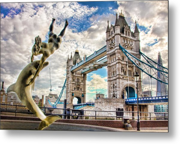 Tower Bridge And Girl With A Dolphin Metal Print