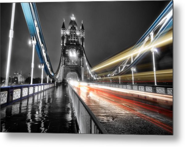 Tower Bridge Lights Metal Print