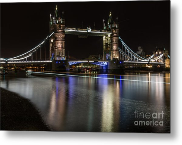 Tower Bridge With Boat Trails Metal Print