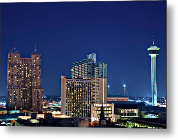 Tower Of America In San Antonio Texas City  Aerial Metal Print