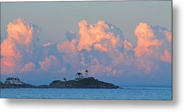 Towering Clouds Over Nubble Lighthouse York Maine Metal Print