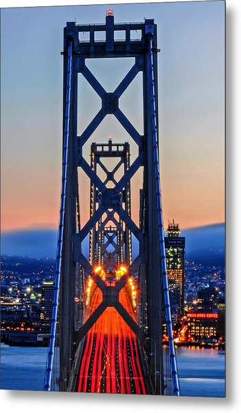 Towers Of The Bay Bridge Perfectly Aligned Metal Print