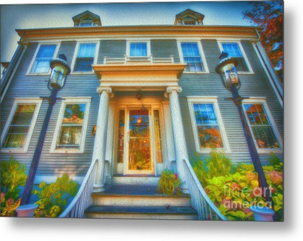 Town House Nantucket And Two Lamps 001 Metal Print