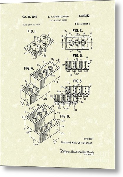 Toy Building Brick 1961 Patent Art Metal Print