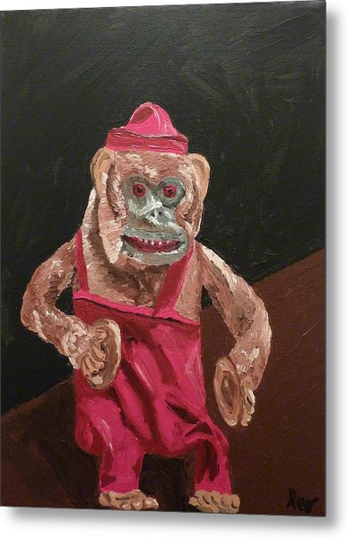 Toy Monkey With Cymbals Metal Print