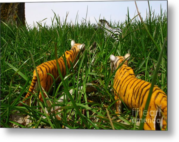 Toy Tiger Hunt Metal Print