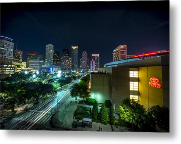 Toyota Center And Downtown Houston Metal Print