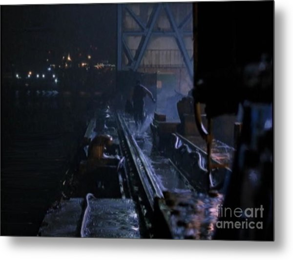 Tracks On The Quay Metal Print by Bryan Crawley