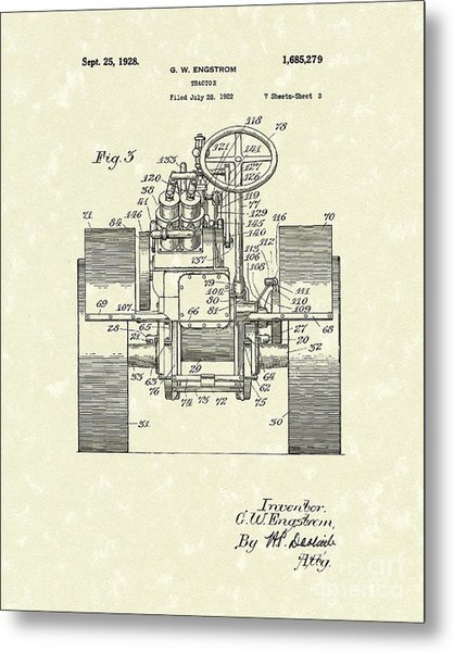 Tractor 1928 Patent Art Metal Print by Prior Art Design