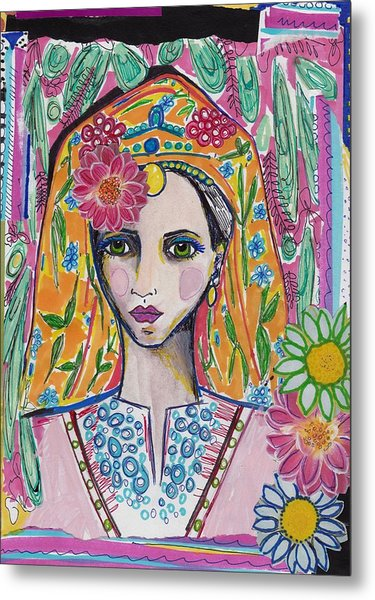 Traditional Bulgarian Folk Girl Metal Print
