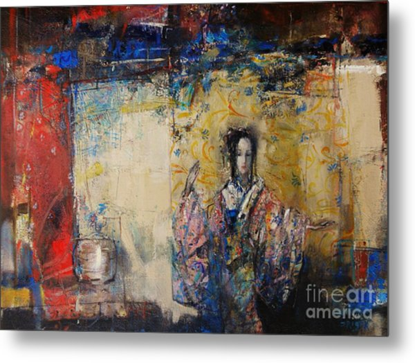 Traditional Dance In Front Of A Yellow Curtain Metal Print