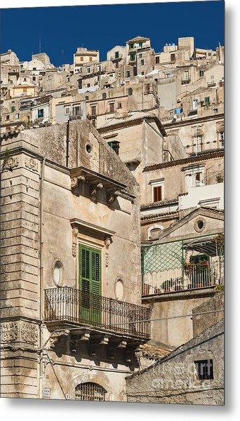 Traditional Houses Of Modica In Sicily Italy Metal Print