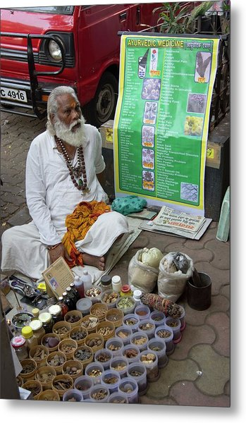 Traditional Indian Medicine Seller Metal Print by Mark Williamson