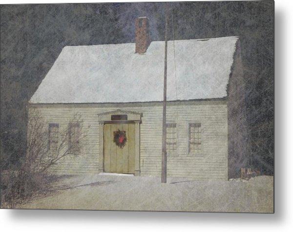 Traditional Snow Colonial Salt Box Home Christmas Card Metal Print