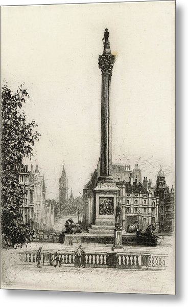Trafalgar Square, With Big Ben Metal Print by Mary Evans Picture Library