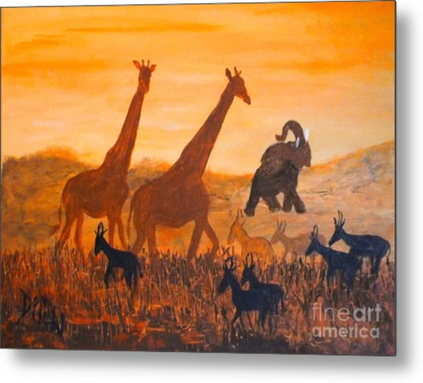 Traffick On Serengeti Metal Print