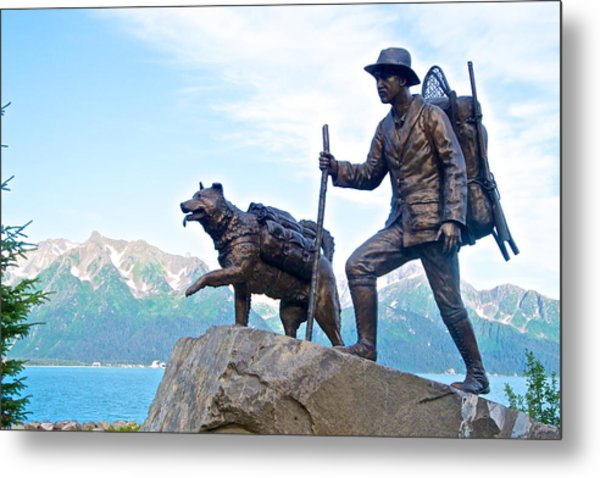 Trail Blazers Sculpture For 2012 Iditarod Beginning At Mile 0 In Seward-ak Metal Print