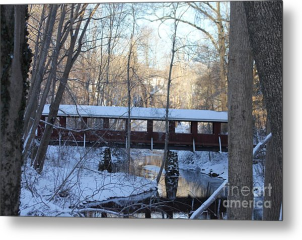 Trail River Covered Bridge Metal Print