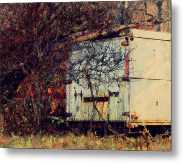 Trailer In The Woods Metal Print