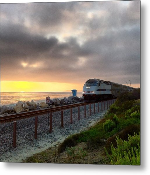 Train And Sunset In San Clemente Metal Print