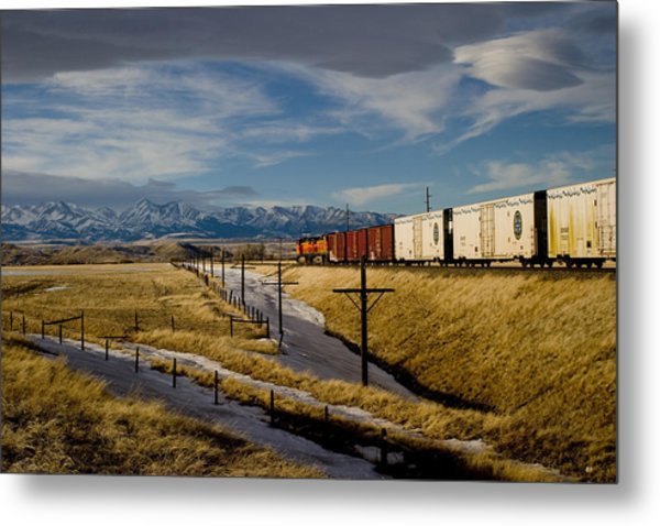 Train And The Crazies By Big Timber Montana Metal Print