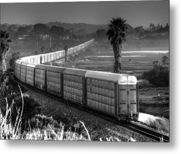 Train At San Elijo Lagoon Metal Print