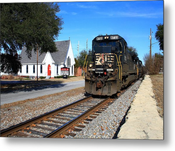Train Goes To Church Metal Print