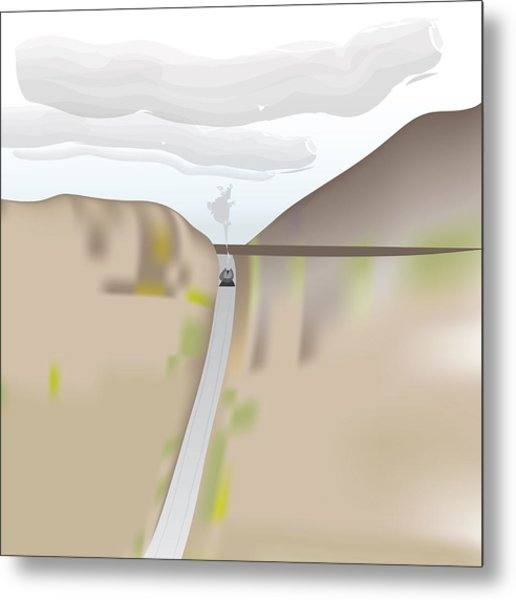 Train Landscape Metal Print