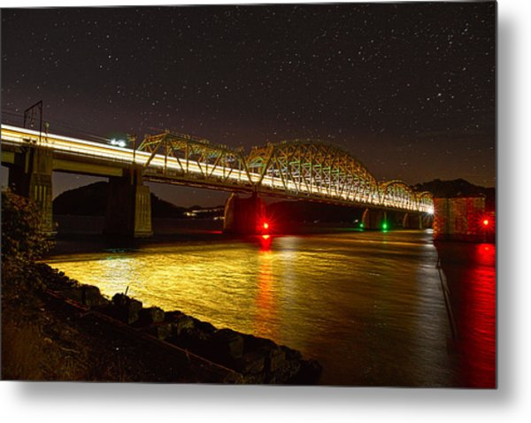 Train Lights In The Night Metal Print