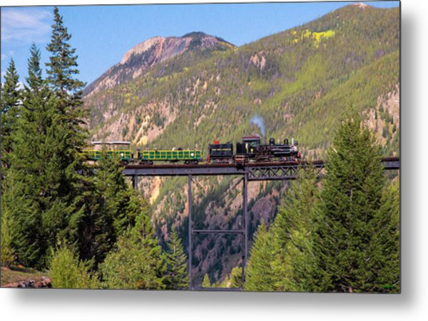 Train Over The Trestle Metal Print