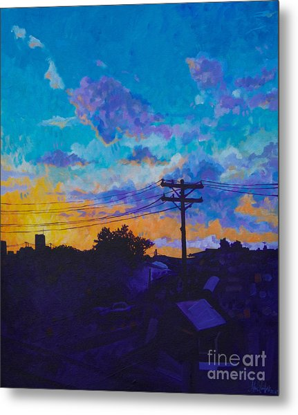 Train Side Sunrise Metal Print