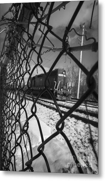 Train Through The Chain Link Fence Metal Print
