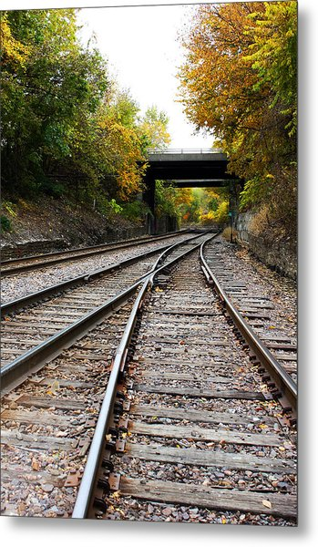 Train Tracks And Bridge In Autumn Metal Print