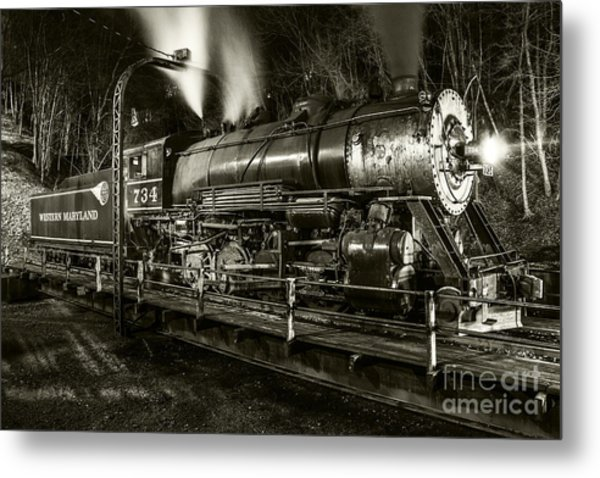 Train Turntable In Frostburg Maryland Metal Print