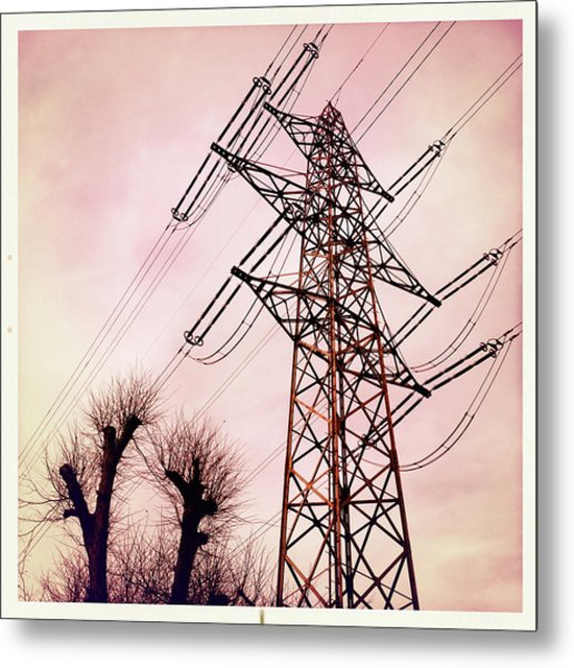 Transmission Line With Bare Trees And Red Sky Metal Print