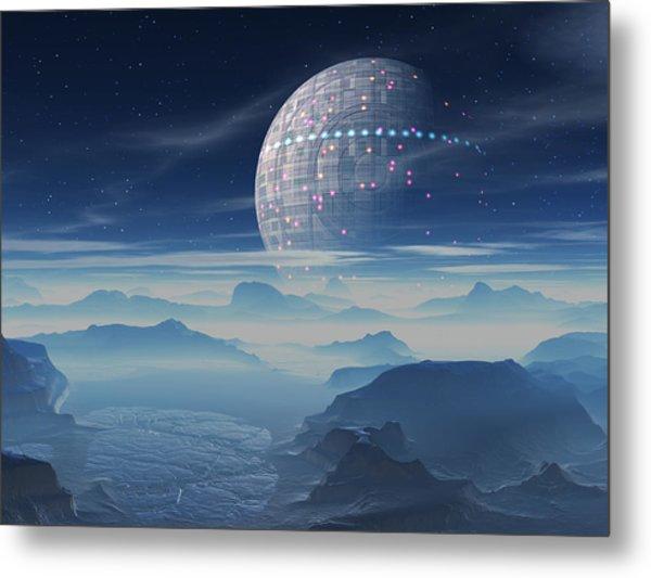 Tranus Alien Planet With Satellite Metal Print
