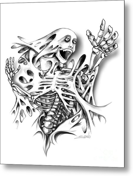Trapped Skeleton By Spano Metal Print by Michael Spano