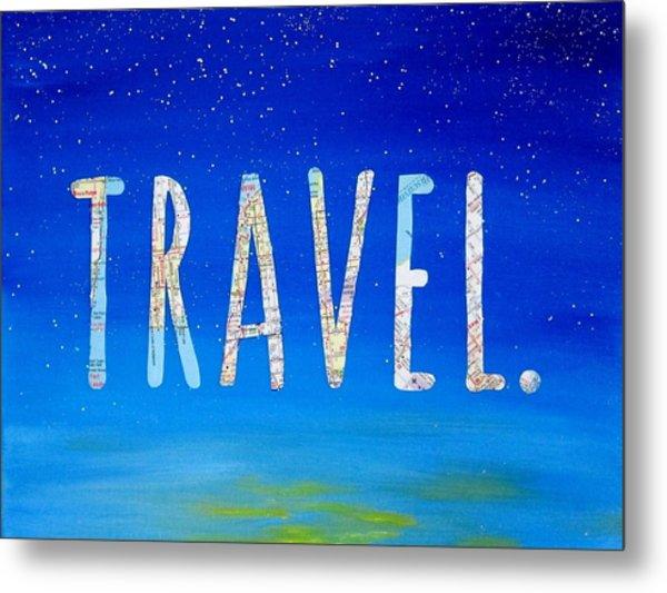 Travel Word Art Metal Print