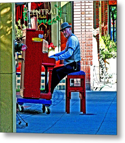 Traveling Piano Player Metal Print