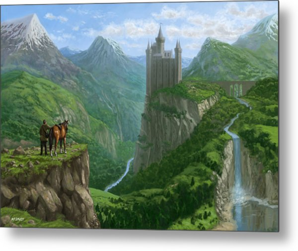 Traveller In Landscape With Distant Castle Metal Print