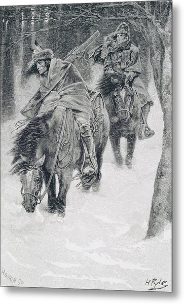 Travelling In Frontier Days, Illustration From The City Of Cleveland By Edmund Kirke, Pub Metal Print