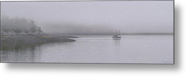 Trawler In Fog Metal Print
