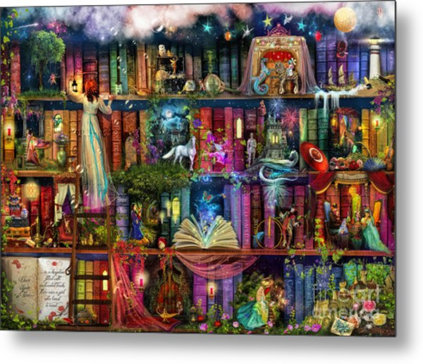 Fairytale Treasure Hunt Book Shelf Metal Print