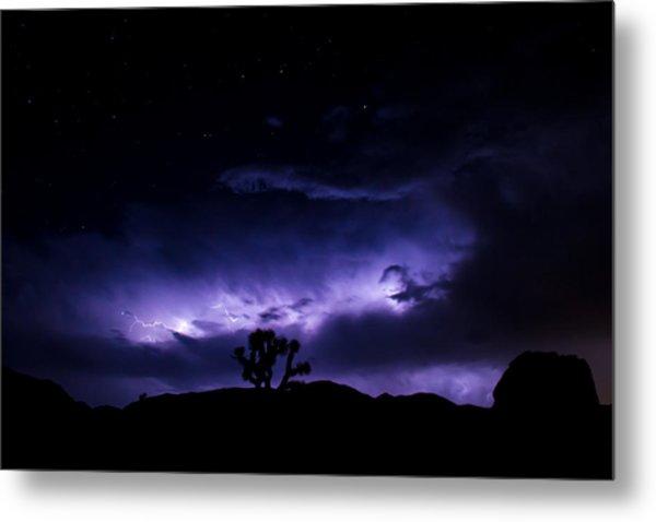 Tree And Lightning Metal Print