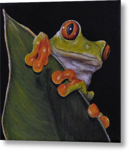 Tree Frog Peeking At You Metal Print
