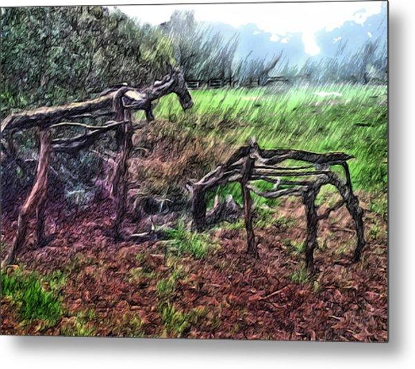 Tree Horse Metal Print