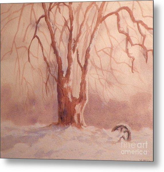 Tree In Snow Metal Print