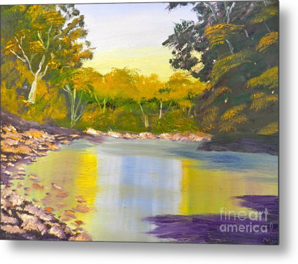 Tree Lined River Metal Print